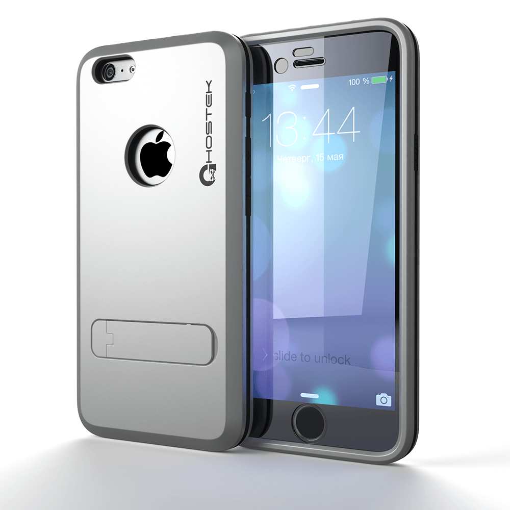 iPhone 6 Plus  Case, Ghostek Bullet Silver W/ Attached Screen Protector - Lifetime Warranty