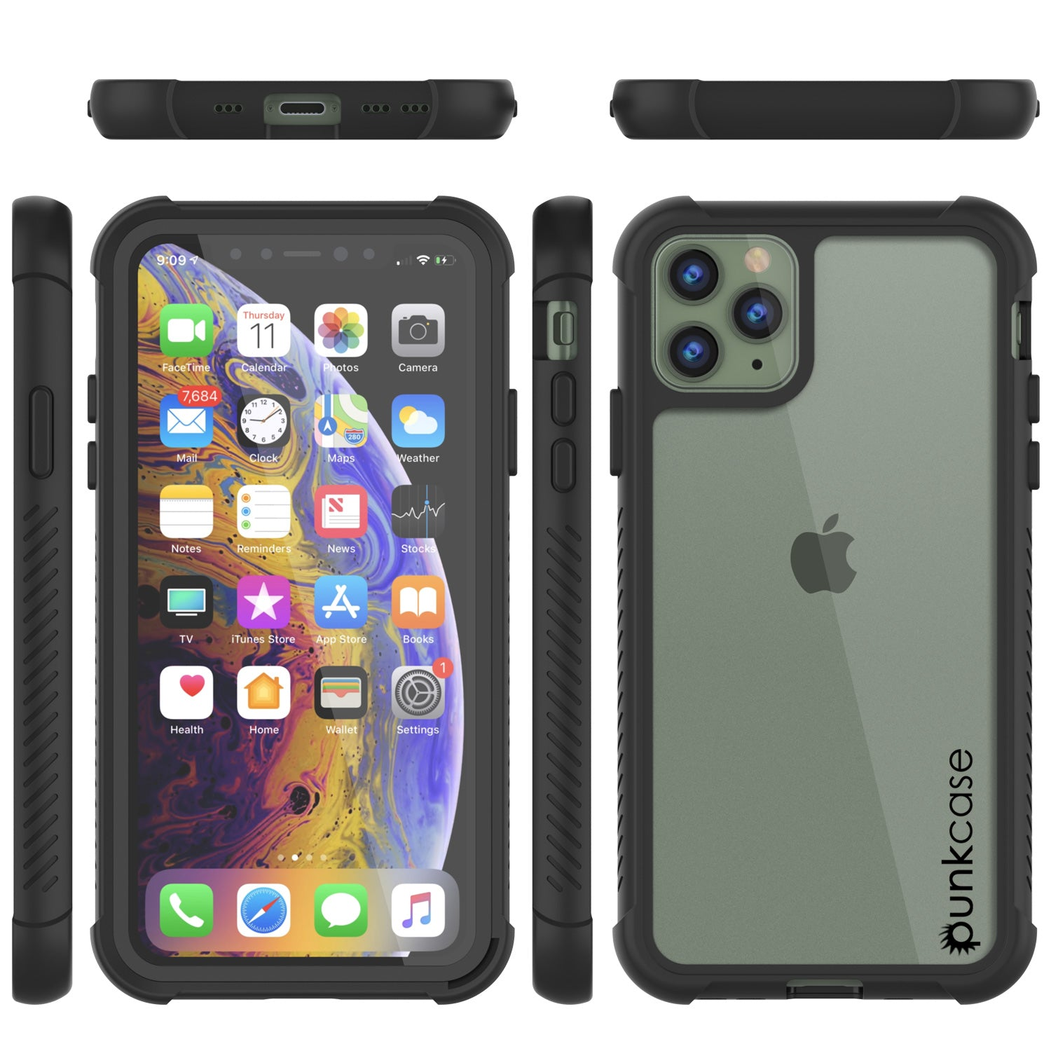 PunkCase iPhone 11 Pro Max Case, [Spartan Series] Clear Rugged Heavy Duty Cover W/Built in Screen Protector [Black]