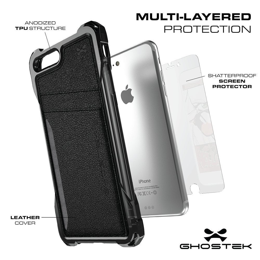 iPhone 7 Plus Wallet Case, Ghostek Exec Black Series | Slim Armor Hybrid Impact Bumper | TPU PU Leather Credit Card Slot Holder Sleeve Cover