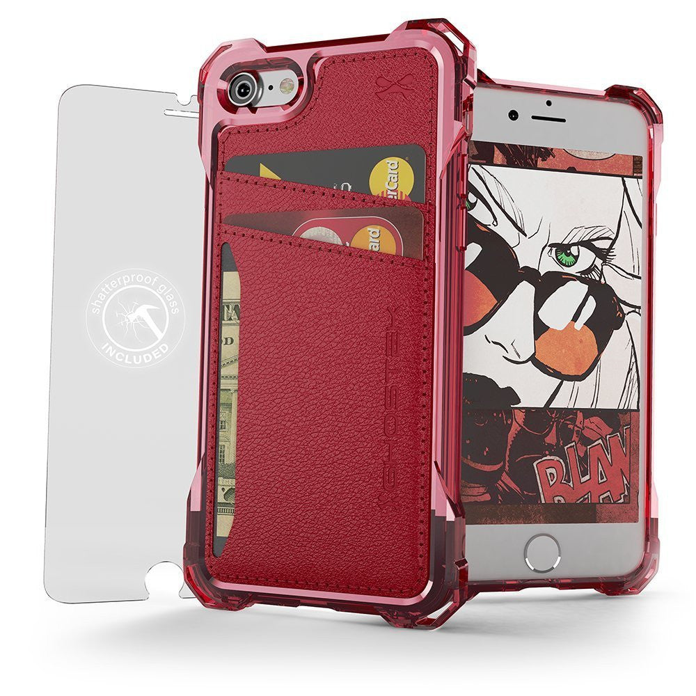 iPhone 7 Wallet Case, Ghostek Exec Red Series | Slim Armor Hybrid Impact Bumper | TPU PU Leather Credit Card Slot Holder Sleeve Cover