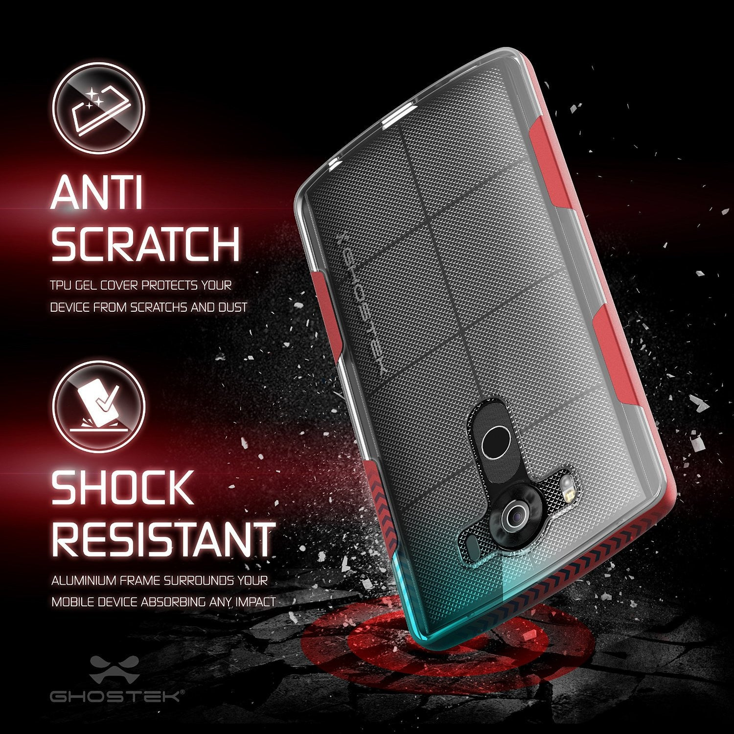 LG V10 Case, Ghostek® Cloak Red Slim Hybrid Impact Armor Cover | Lifetime Warranty Exchange