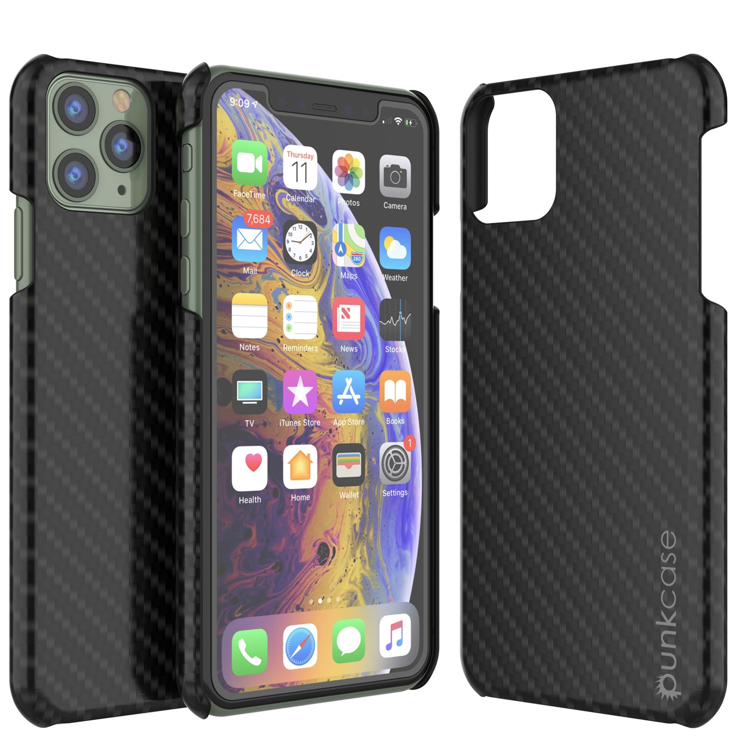 iPhone 11 Pro Max Case, Punkcase CarbonShield, Heavy Duty & Ultra Thin 2 Piece Dual Layer [shockproof]