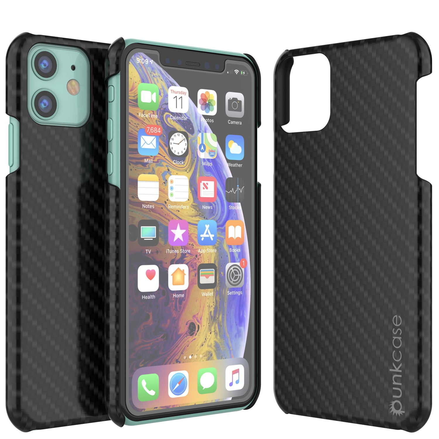 iPhone 11 Case, Punkcase CarbonShield, Heavy Duty & Ultra Thin 2 Piece Dual Layer [shockproof]