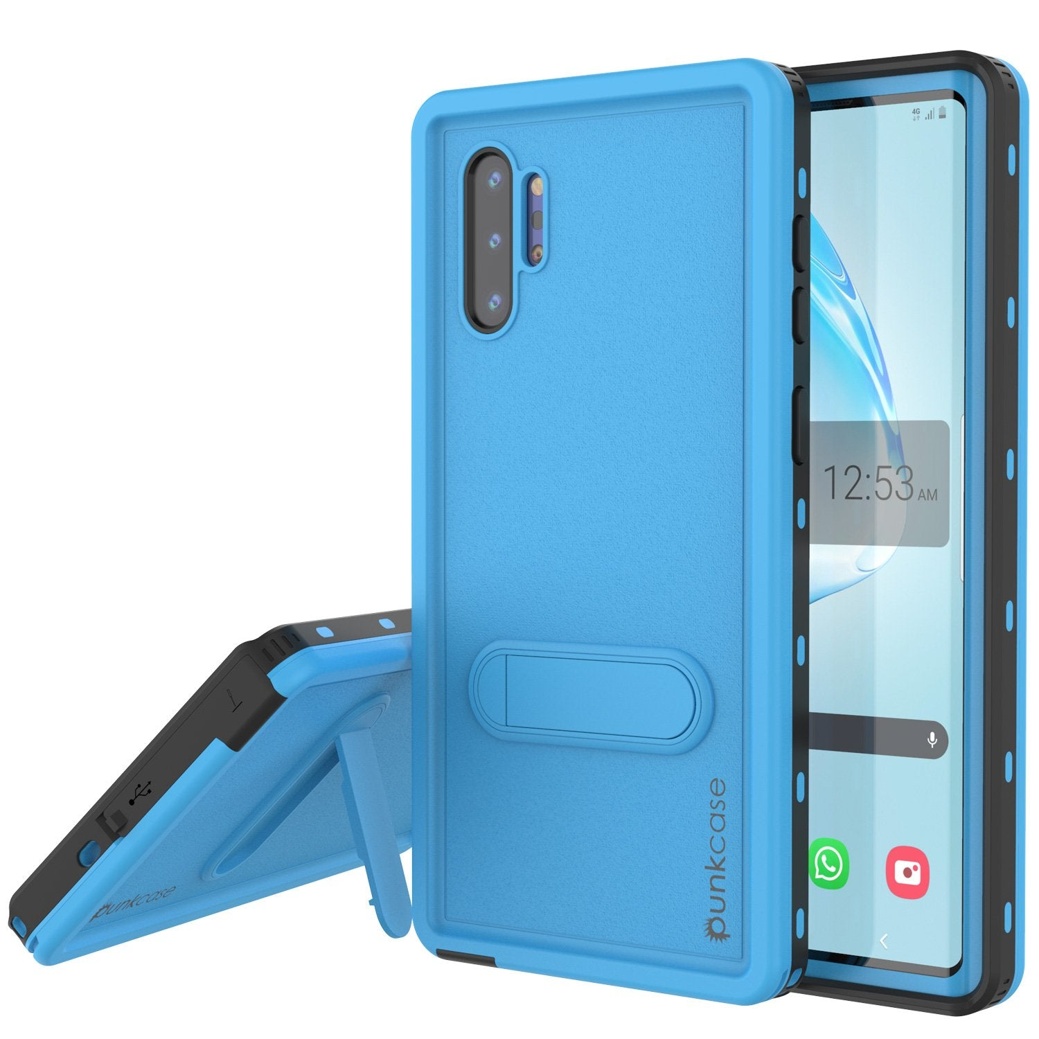 PunkCase Galaxy Note 10+ Plus Waterproof Case, [KickStud Series] Armor Cover [Light-Blue]