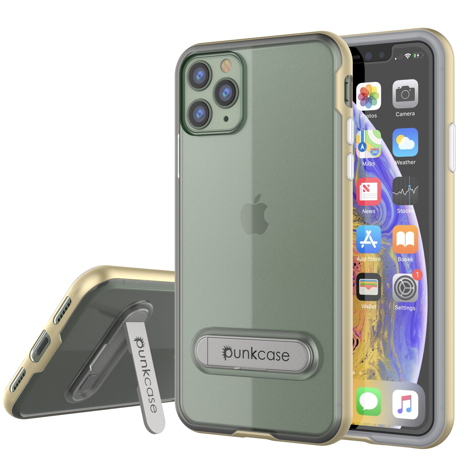 iPhone 11 Pro Max Case, PUNKcase [LUCID 3.0 Series] [Slim Fit] Armor Cover w/ Integrated Screen Protector [Gold]