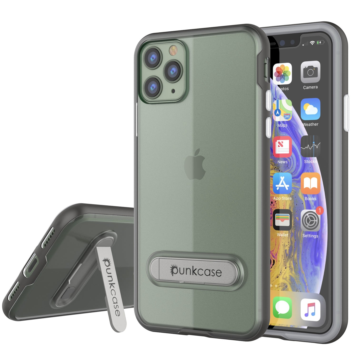 iPhone 11 Pro Max Case, PUNKcase [LUCID 3.0 Series] [Slim Fit] Armor Cover w/ Integrated Screen Protector [Grey]