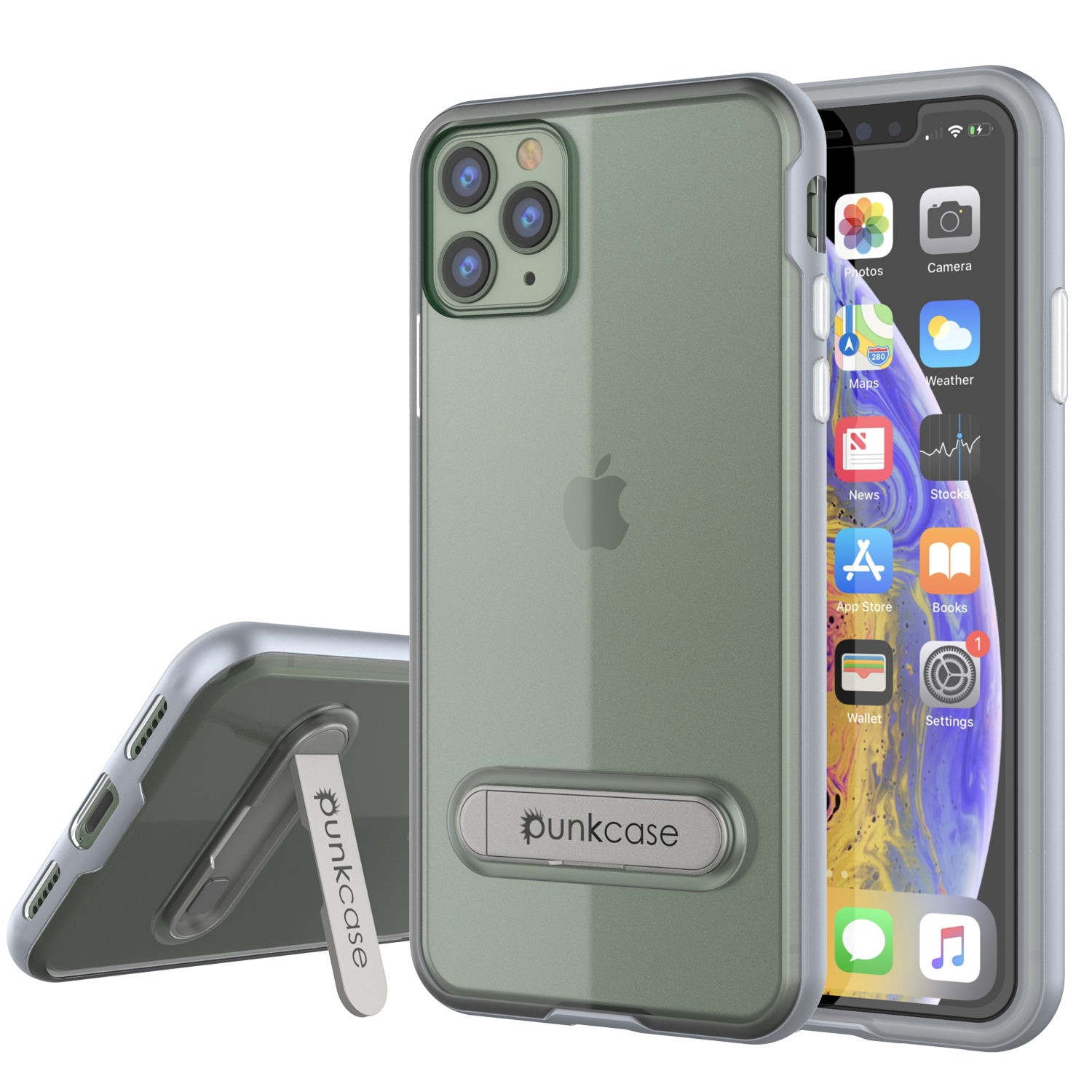iPhone 11 Pro Max Case, PUNKcase [LUCID 3.0 Series] [Slim Fit] Armor Cover w/ Integrated Screen Protector [Silver]