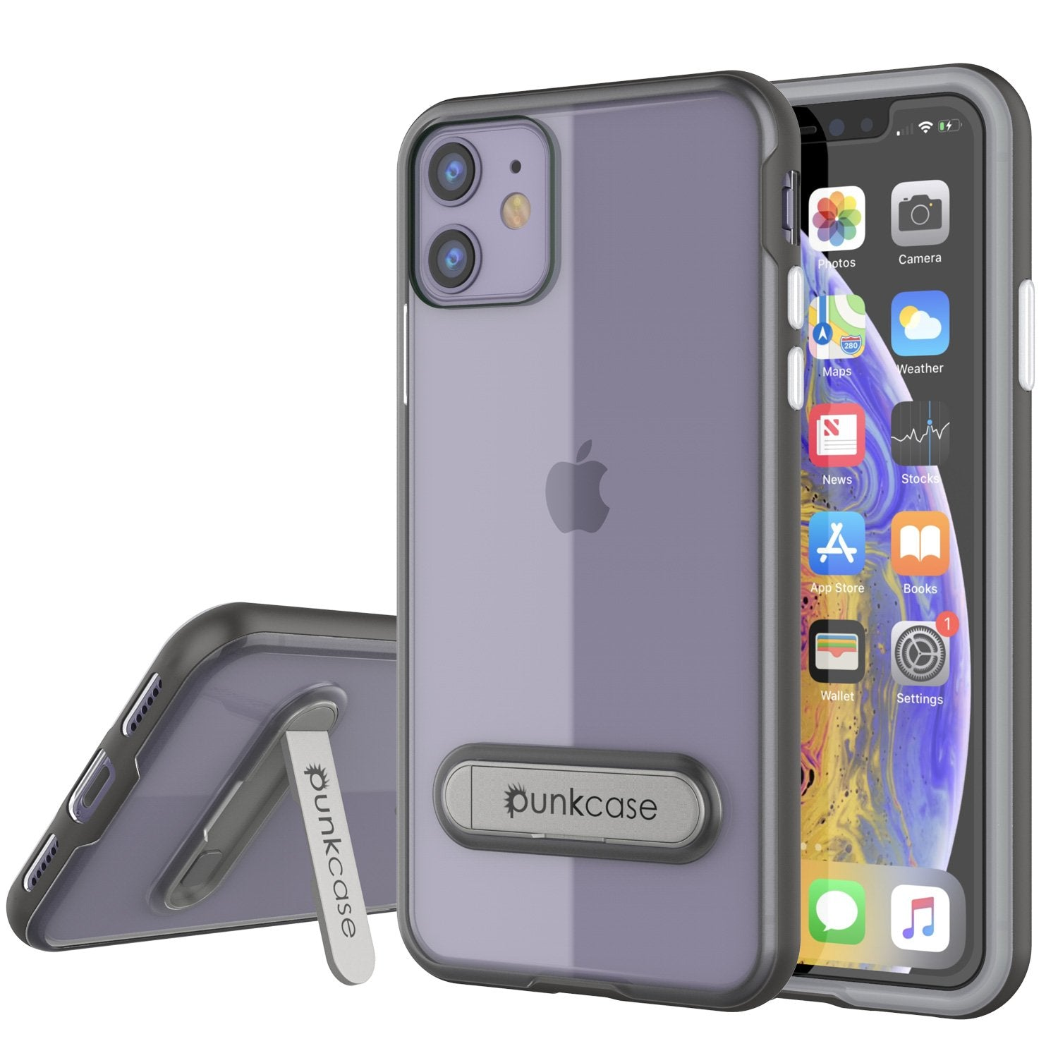 iPhone 12 Case, PUNKcase [LUCID 3.0 Series] [Slim Fit] Protective Cover w/ Integrated Screen Protector [Grey]