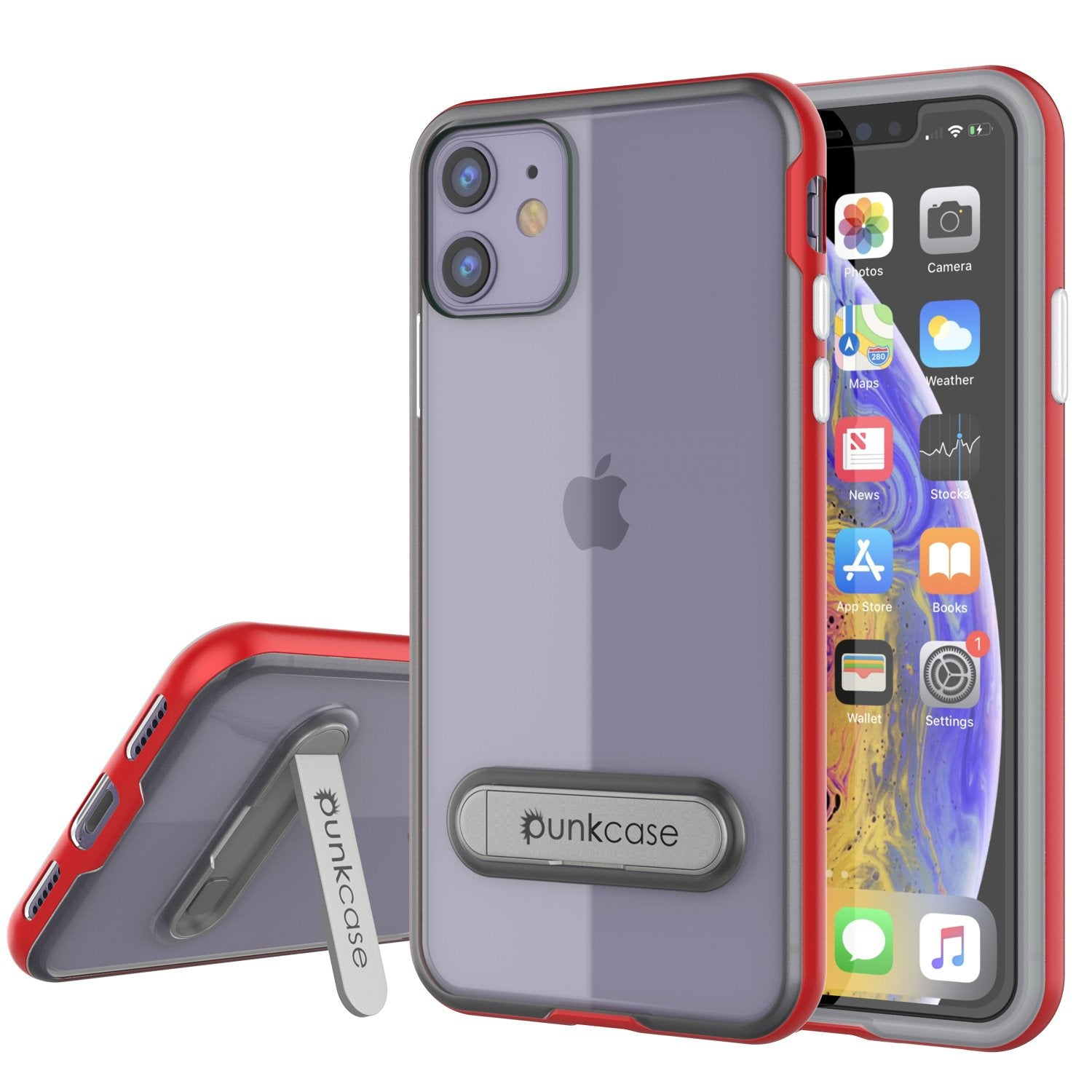 iPhone 12 Case, PUNKcase [LUCID 3.0 Series] [Slim Fit] Protective Cover w/ Integrated Screen Protector [Red]