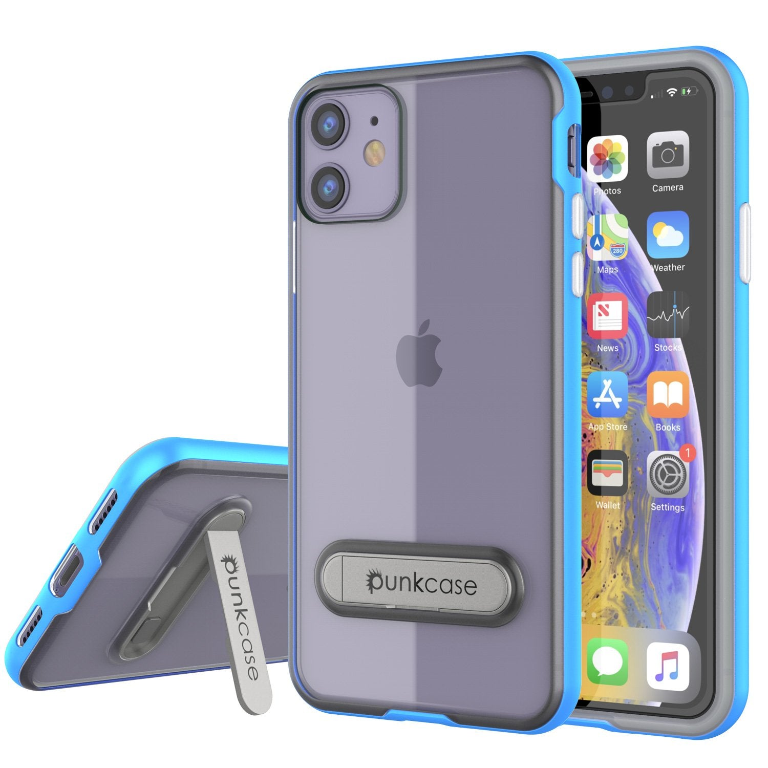 iPhone 12 Case, PUNKcase [LUCID 3.0 Series] [Slim Fit] Protective Cover w/ Integrated Screen Protector [Blue]