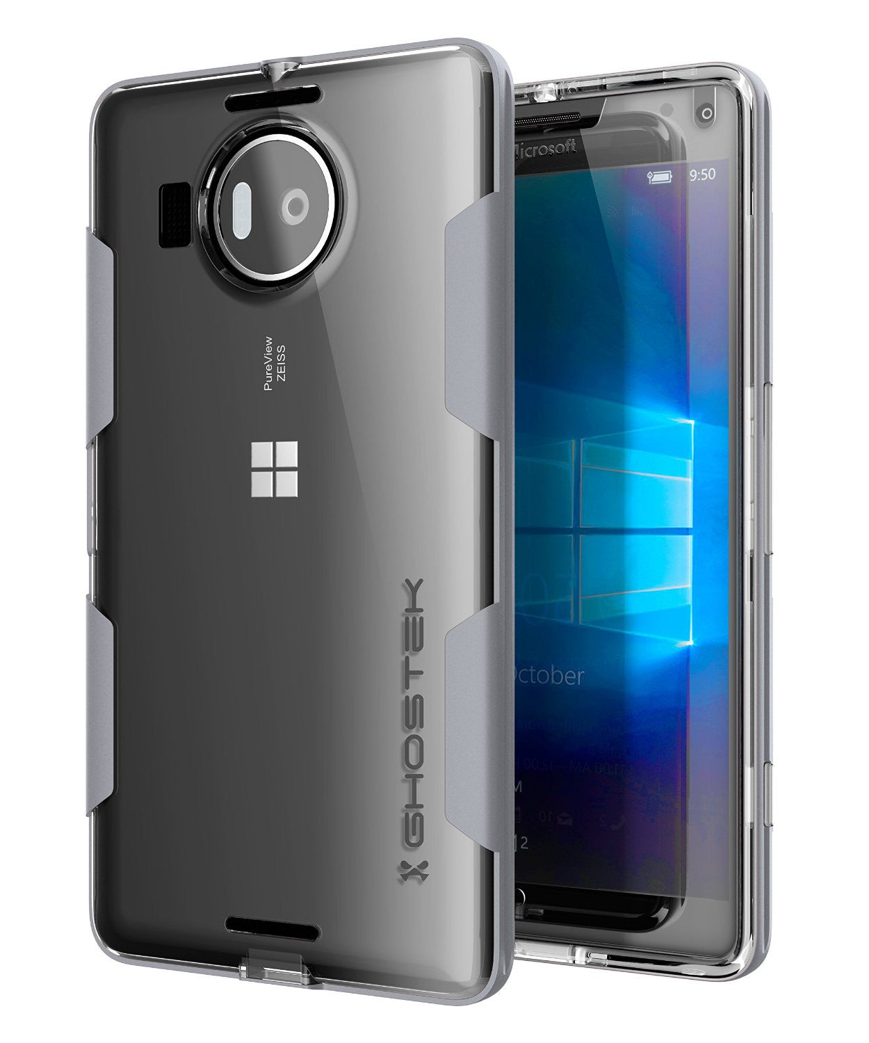Microsoft 950 XL Case, Ghostek® Cloak Silver Slim Hybrid Impact Armor | Lifetime Warranty Exchange