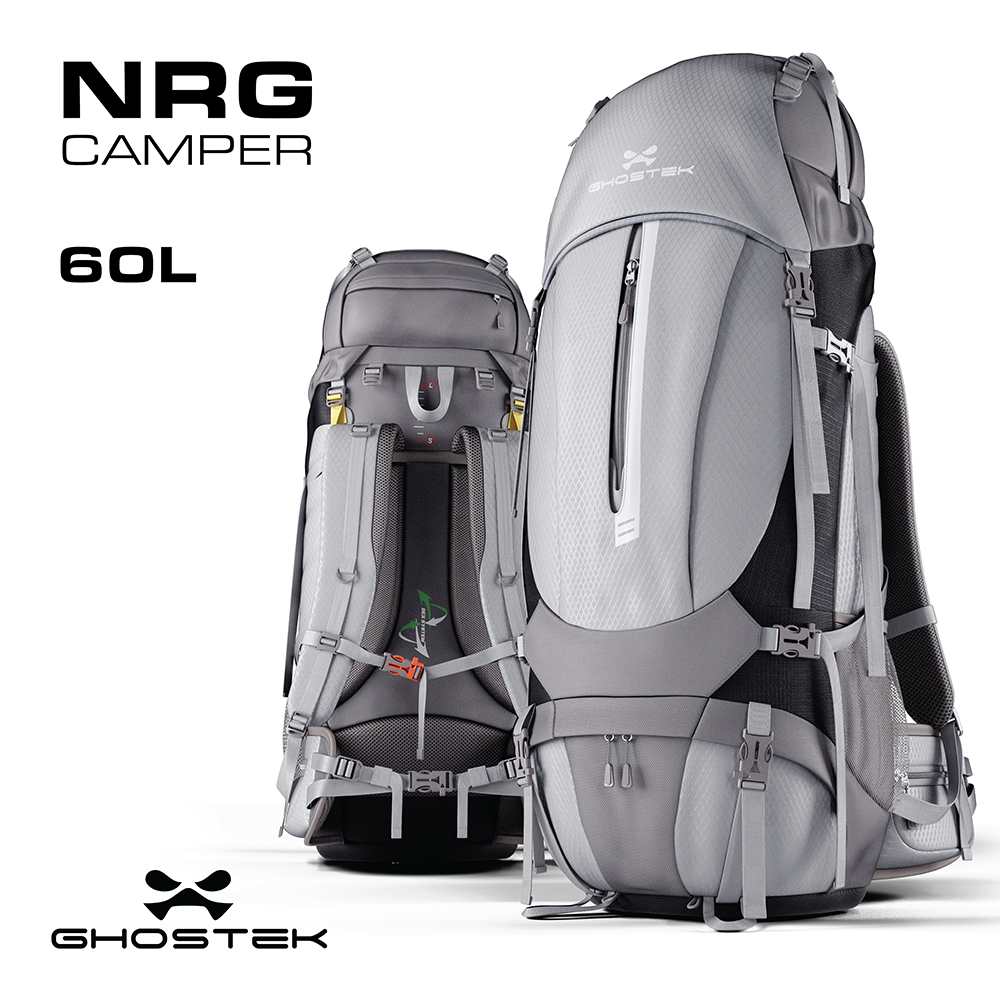 NRGCAMPER SERIES | HIKING + CAMPING BACKPACK | 11W SOLAR PANEL | 60L CAPACITY