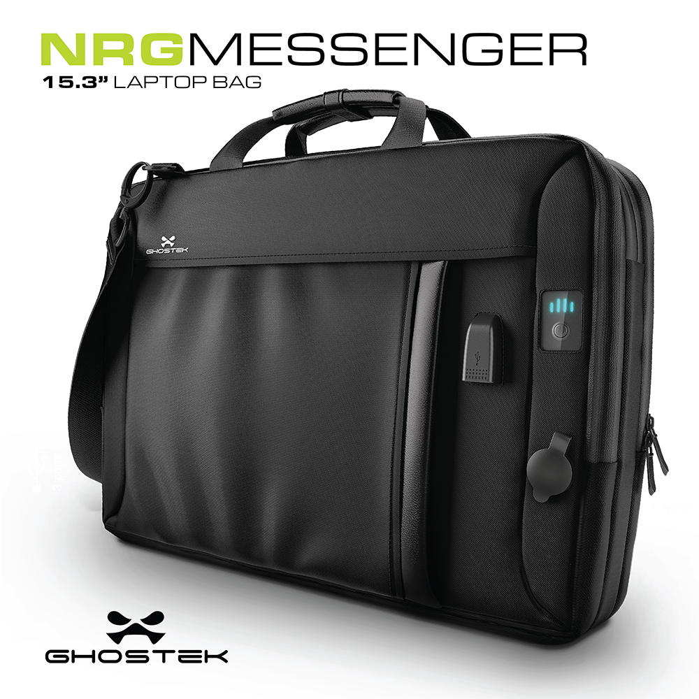 Ghostek NRGmessenger Series 8.5L || Computer Laptop Messenger Bag + 16,000mAh Battery Power Bank with 2 USB Ports | Water Resistant