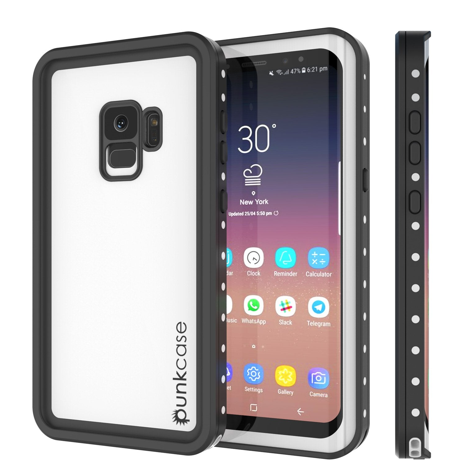 Galaxy S9 Waterproof Case, Punkcase StudStar White Thin 6.6ft Underwater IP68 Shock/Snow Proof