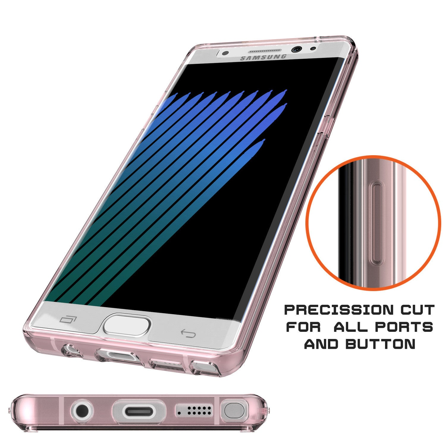 Note 7 Case Punkcase® LUCID 2.0 Crystal Pink Series w/ PUNK SHIELD Screen Protector | Ultra Fit