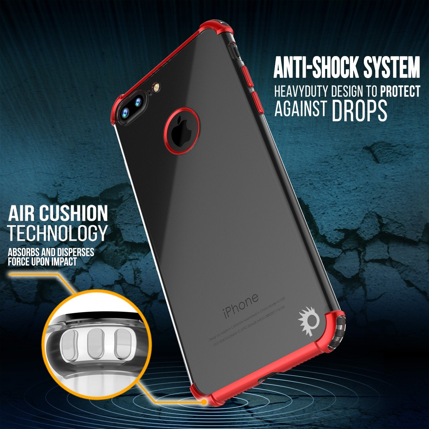 iPhone 8 PLUS Case, Punkcase [BLAZE SERIES] Protective Cover W/ PunkShield Screen Protector [Shockproof] [Slim Fit] for Apple iPhone 7/8/6/6s PLUS [Red]