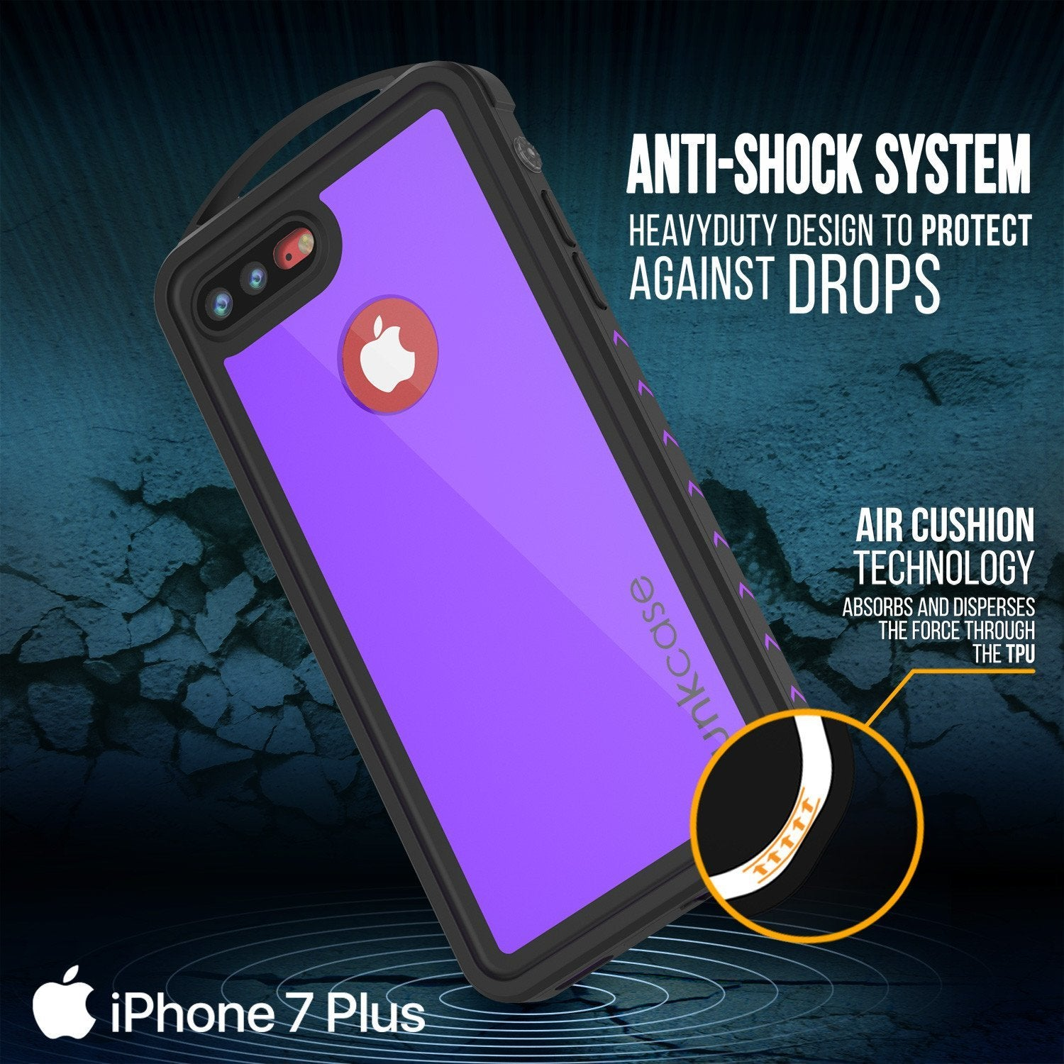 iPhone 8+ Plus Waterproof Case, Punkcase ALPINE Series, Purple | Heavy Duty Armor Cover