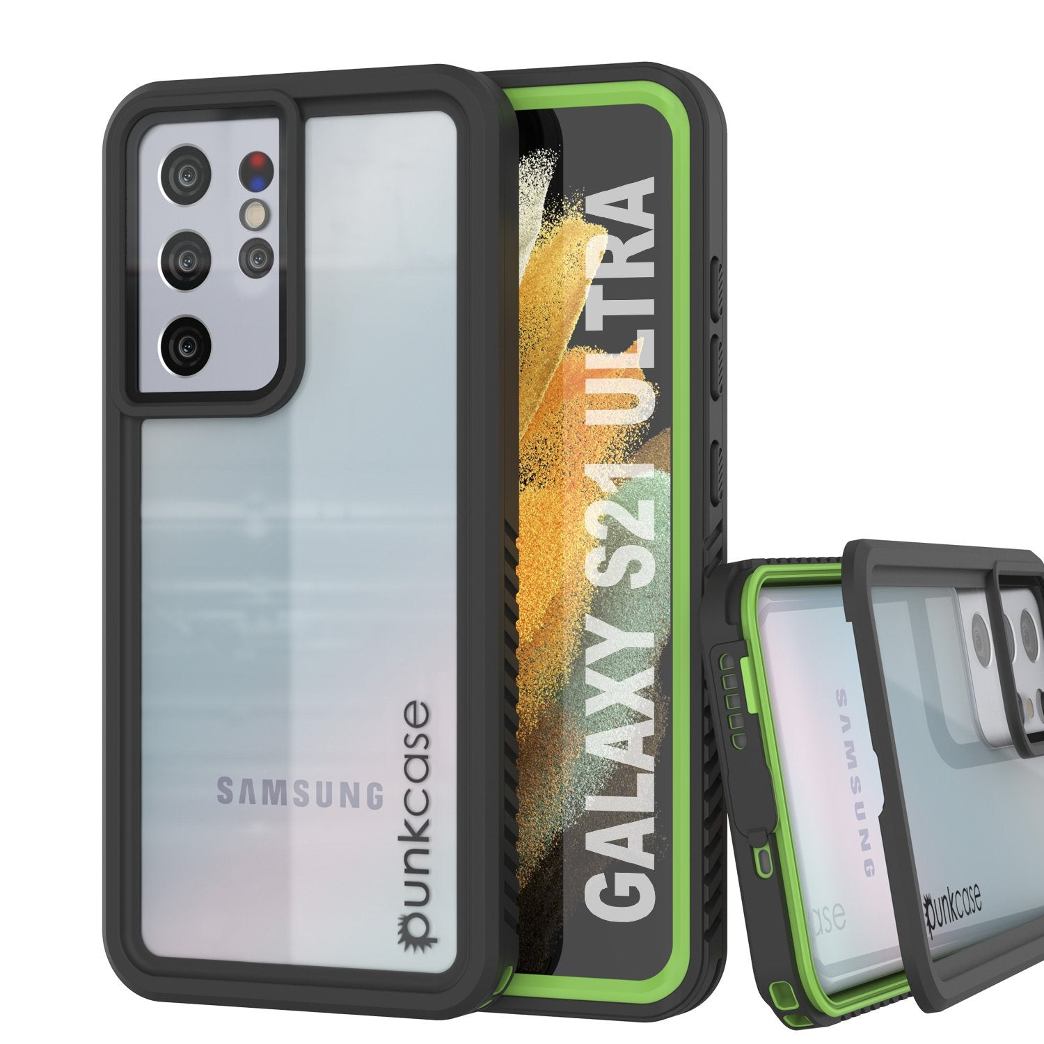 Galaxy S21 Ultra Water/Shockproof [Extreme Series] Screen Protector Case [Light Green]