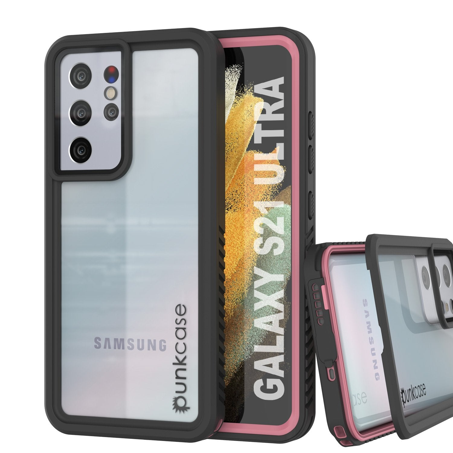 Galaxy S21 Ultra Water/Shock/Snowproof [Extreme Series] Slim Screen Protector Case [Pink]