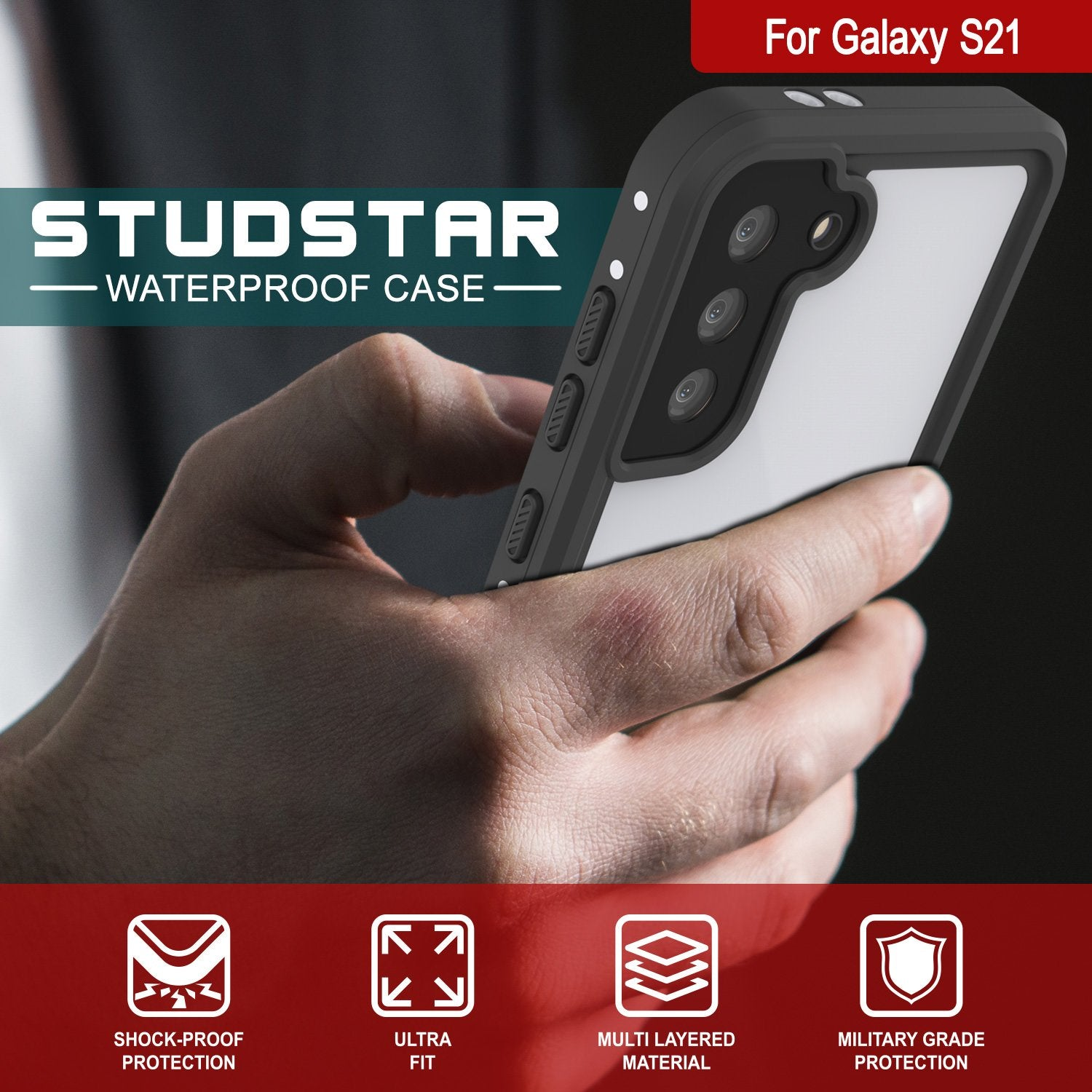 Galaxy S21 Waterproof Case, Punkcase StudStar White Thin 6.6ft Underwater IP68 Shock/Snow Proof