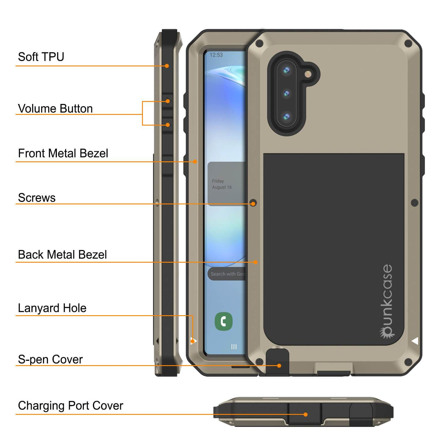 Galaxy Note 10  Case, PUNKcase Metallic Gold Shockproof  Slim Metal Armor Case [Gold]
