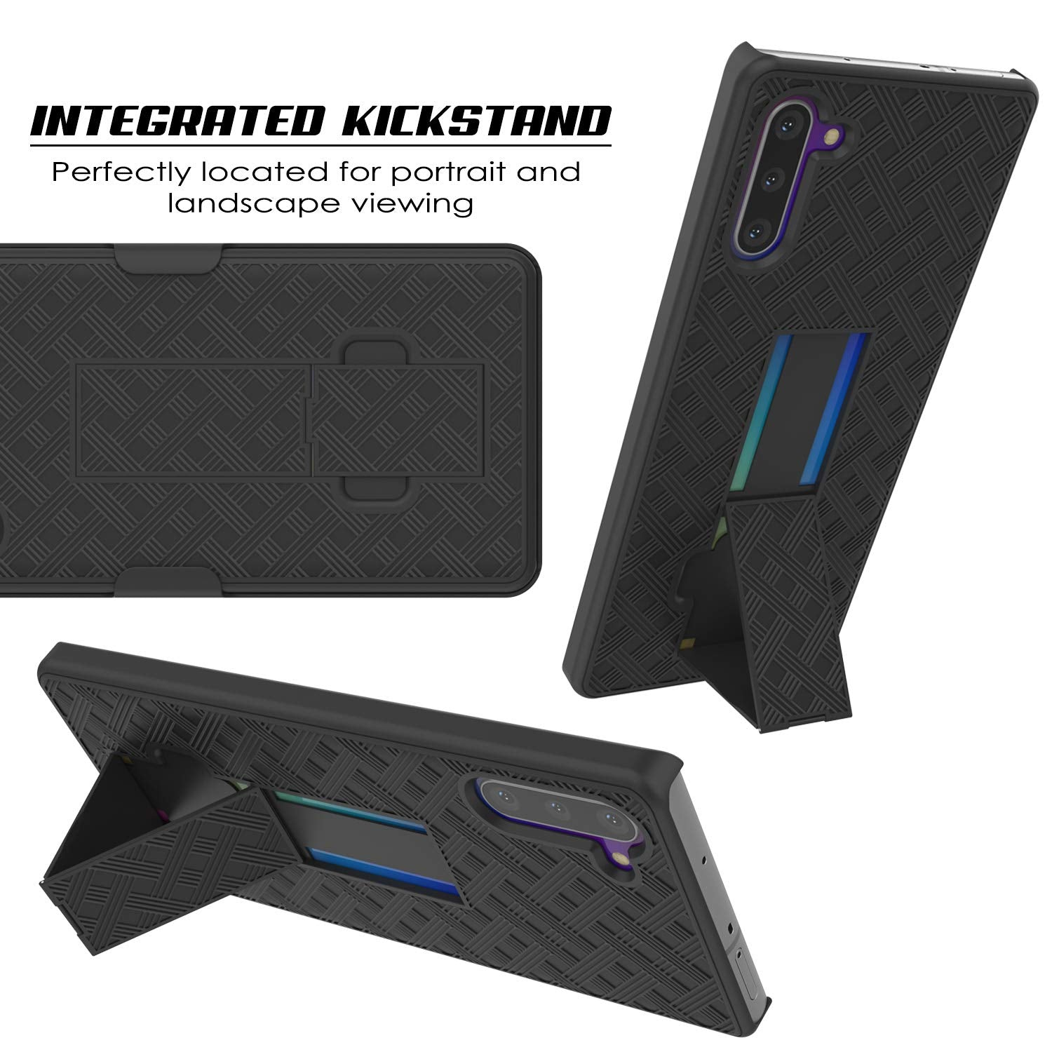 PunkCase Galaxy Note 10 Case with Screen Protector, Holster Belt Clip & Built-in Kickstand [Black]