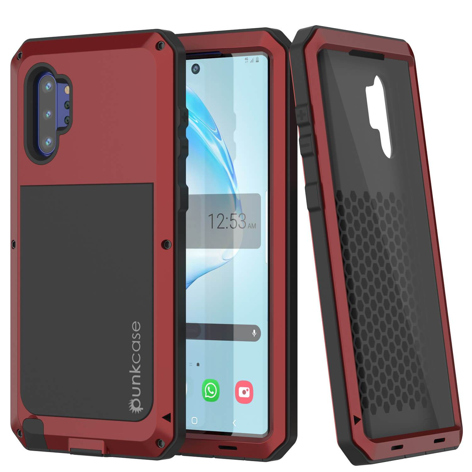 Galaxy Note 10+ Plus  Case, PUNKcase Metallic Red Shockproof  Slim Metal Armor Case [Red]