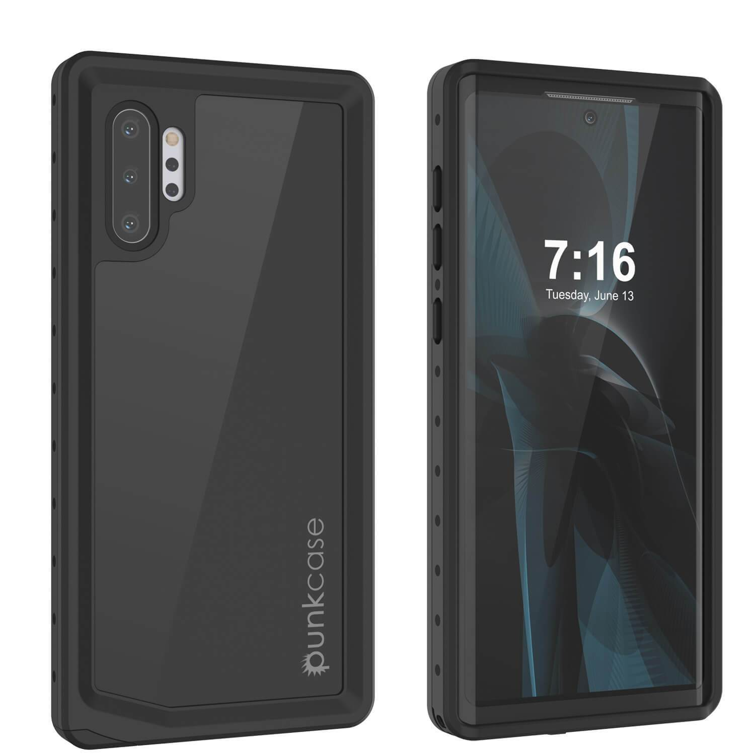 Galaxy Note 10+ Plus Waterproof Case, Punkcase Studstar Black Thin Armor Cover