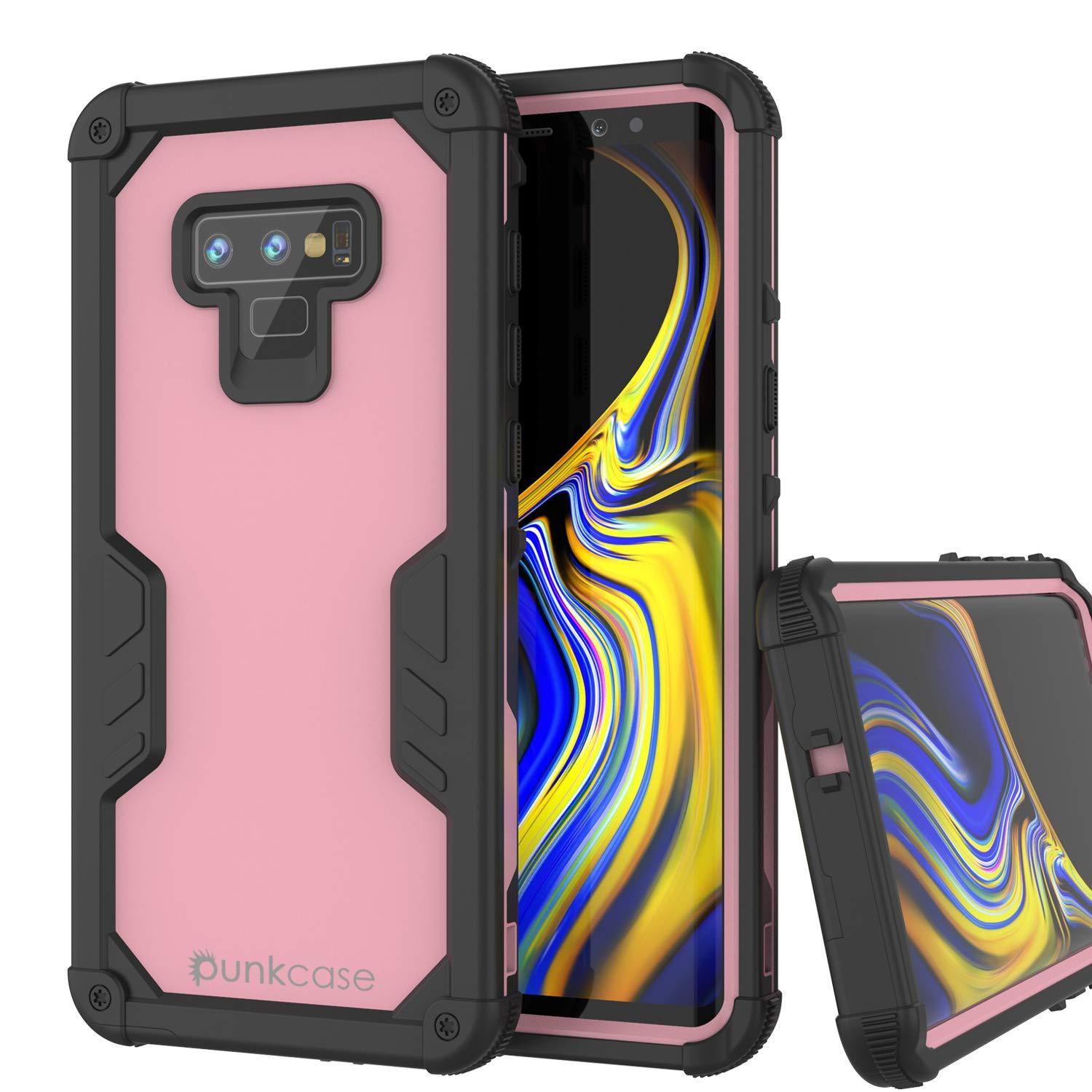 Punkcase Galaxy Note 9 Waterproof Case [Navy Seal Extreme Series] Armor Cover W/ Built In Screen Protector [Pink]