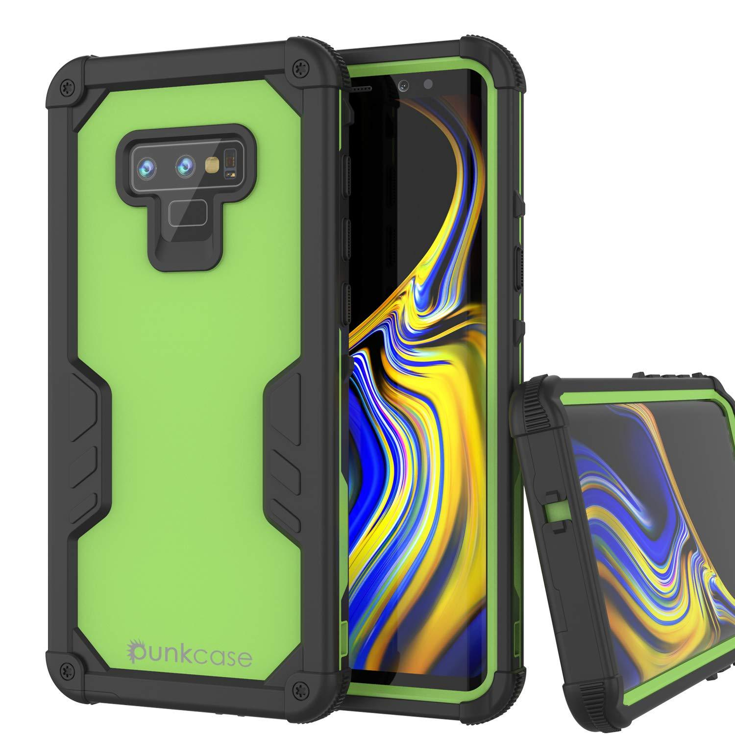 Punkcase Galaxy Note 9 Waterproof Case [Navy Seal Extreme Series] Armor Cover W/ Built In Screen Protector [Light Green]