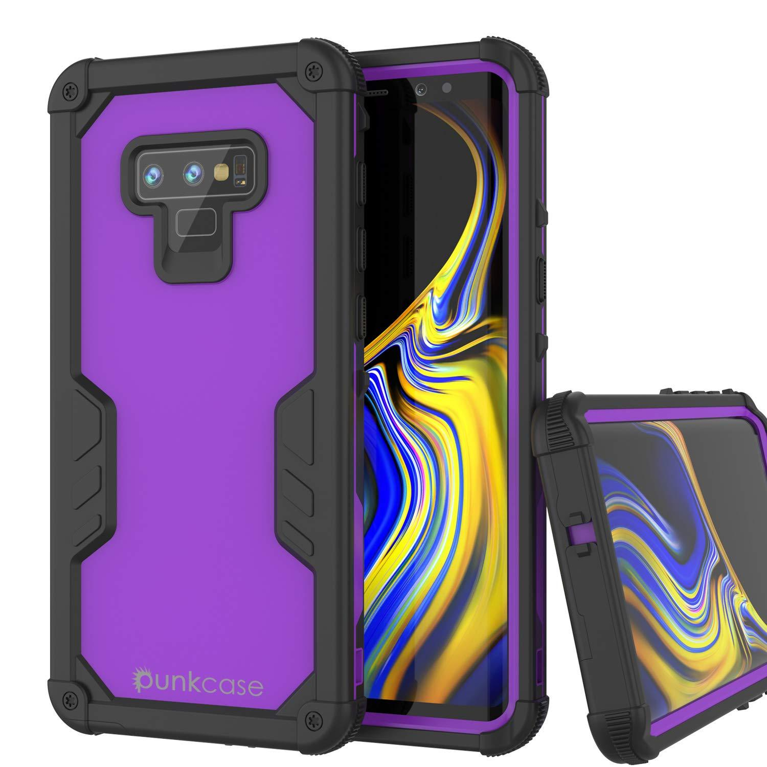 Punkcase Galaxy Note 9 Waterproof Case [Navy Seal Extreme Series] Armor Cover W/ Built In Screen Protector [Purple]