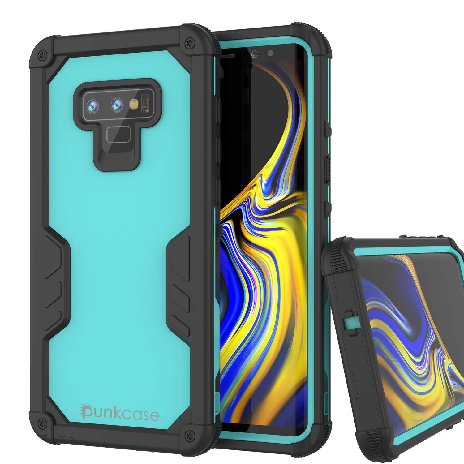 Punkcase Galaxy Note 9 Waterproof Case [Navy Seal Extreme Series] Armor Cover W/ Built In Screen Protector [Teal]