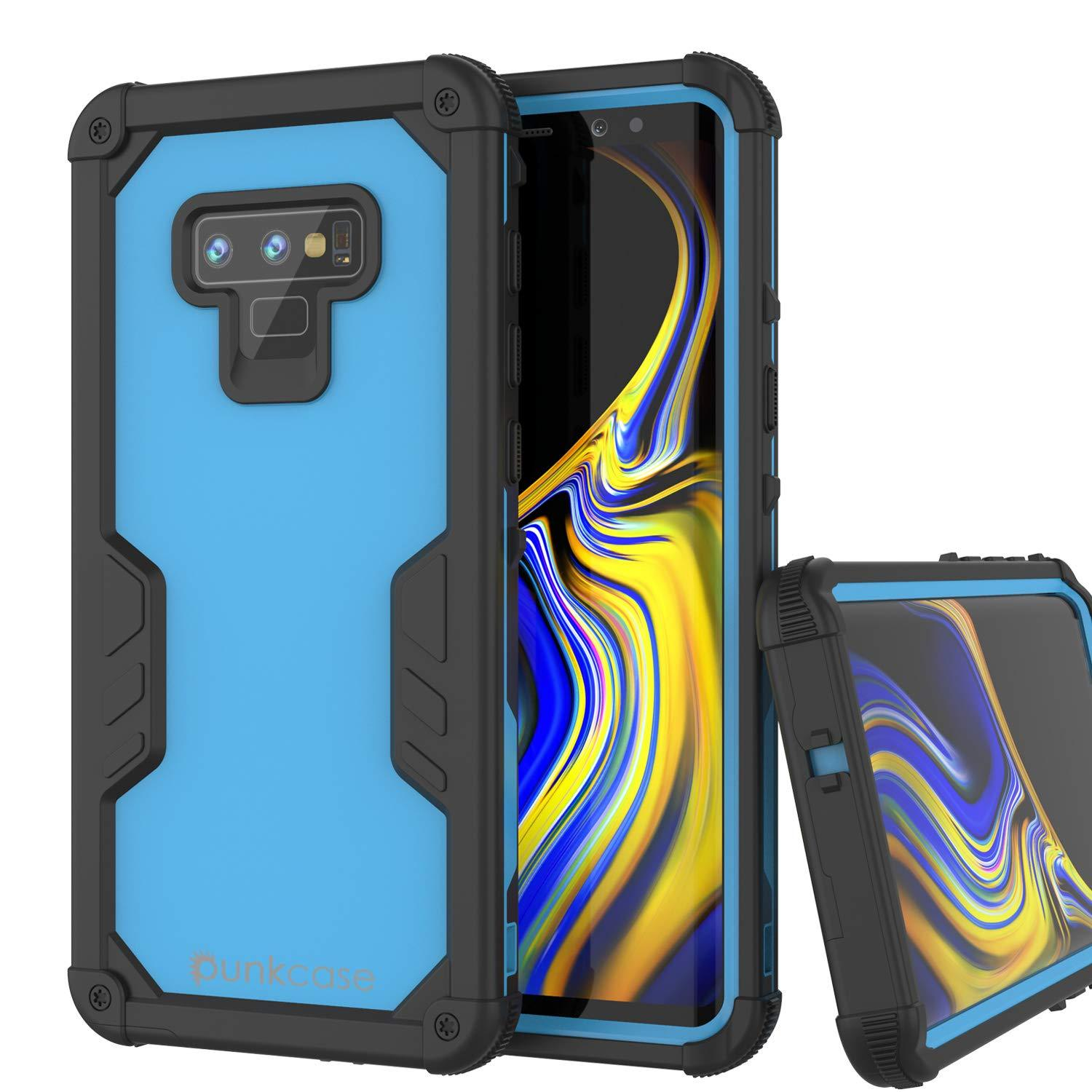 Punkcase Galaxy Note 9 Waterproof Case [Navy Seal Extreme Series] Armor Cover W/ Built In Screen Protector [Light Blue]