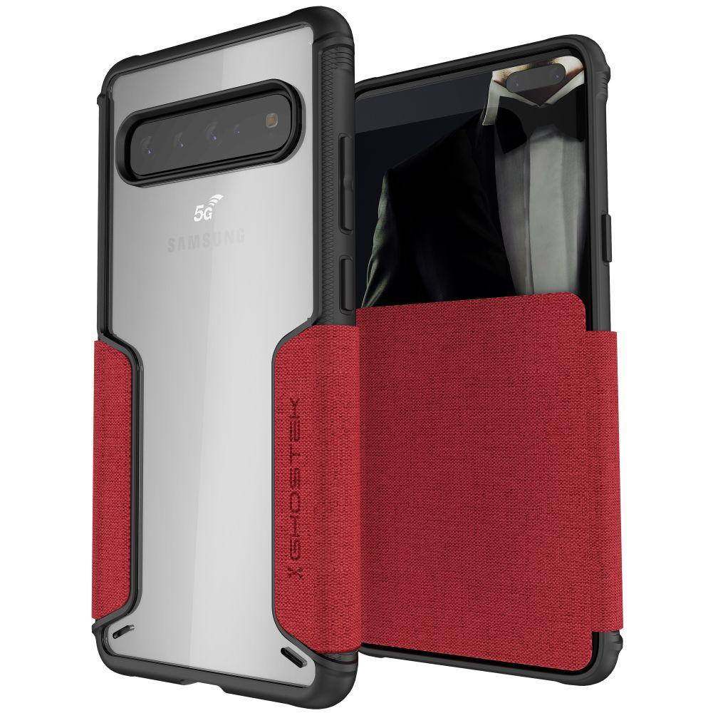 EXEC 3 for Galaxy S10 5G Leather Flip Wallet Case [Red]