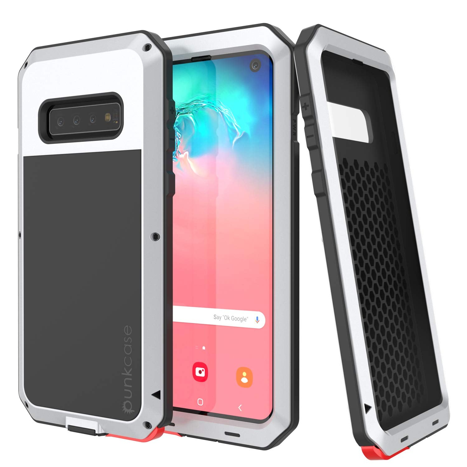 Galaxy S10 Metal Case, Heavy Duty Military Grade Rugged Armor Cover [White]