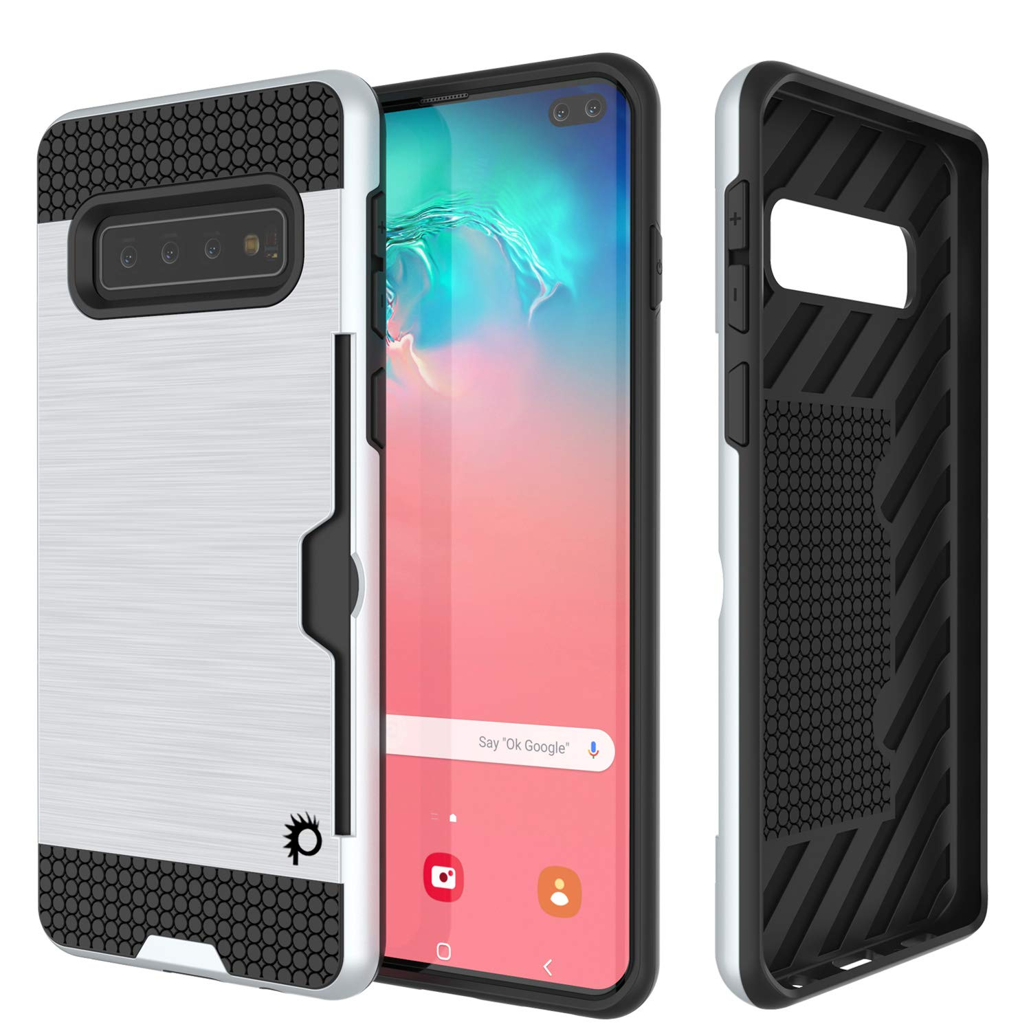 Galaxy S10+ Plus  Case, PUNKcase [SLOT Series] [Slim Fit] Dual-Layer Armor Cover w/Integrated Anti-Shock System, Credit Card Slot & Screen Protector [White]