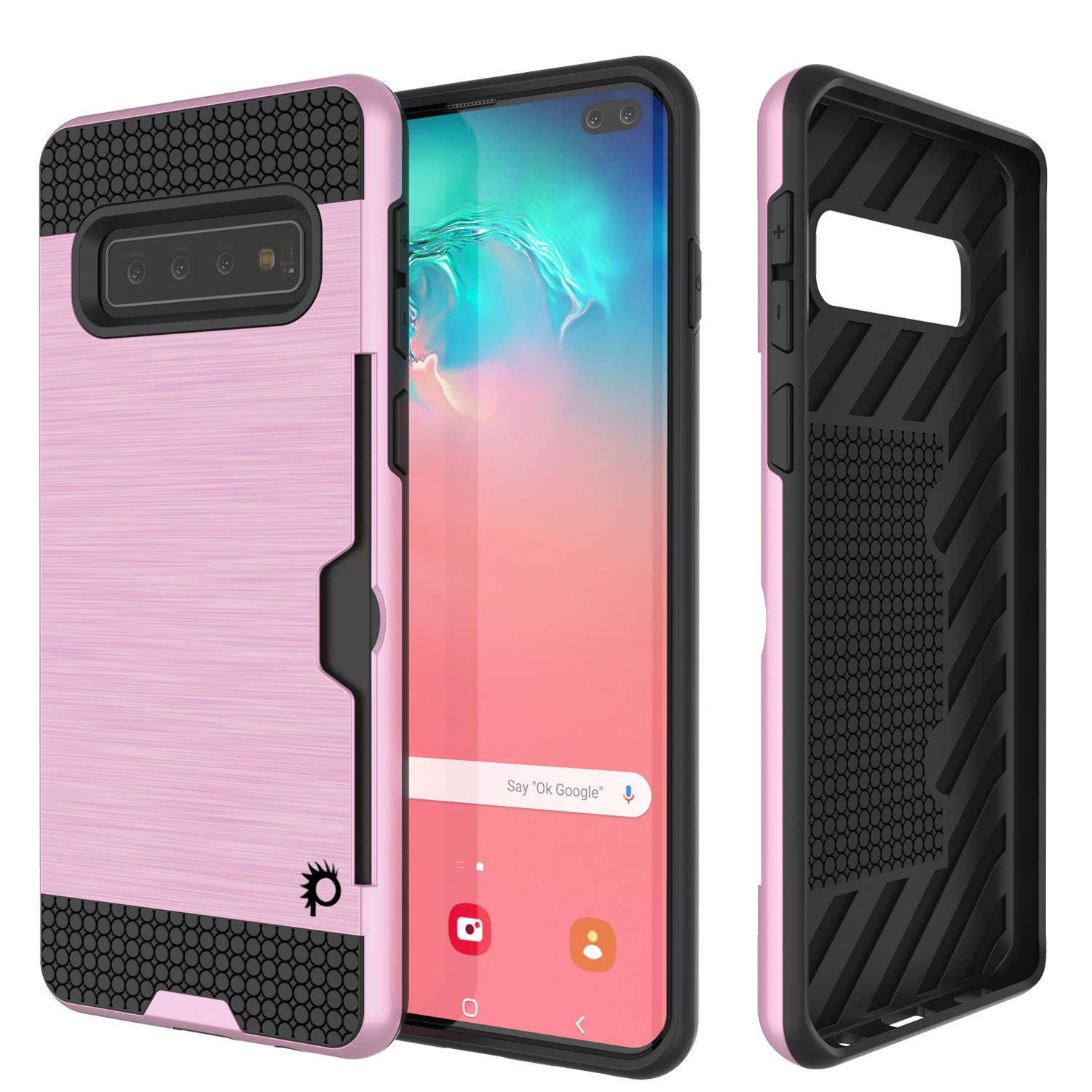 Galaxy S10+ Plus  Case, PUNKcase [SLOT Series] [Slim Fit] Dual-Layer Armor Cover w/Integrated Anti-Shock System, Credit Card Slot [Pink]