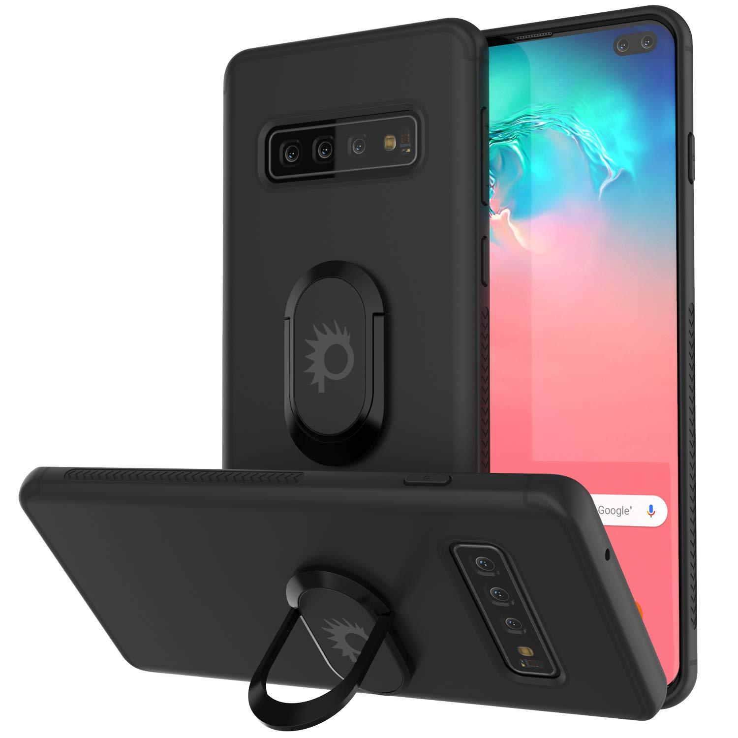 Galaxy S10+ Plus, Punkcase Magnetix Protective TPU Cover W/ Kickstand, Sceen Protector[Black]
