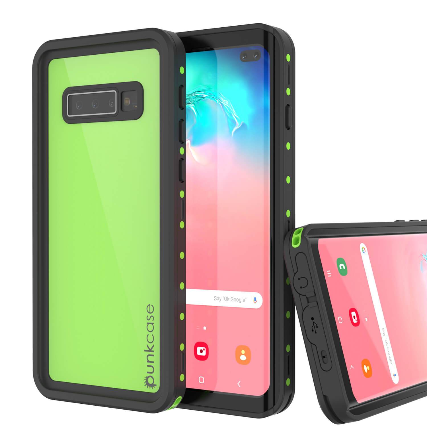 Galaxy S10+ Plus Waterproof Case PunkCase StudStar Light Green Thin 6.6ft Underwater IP68 ShockProof