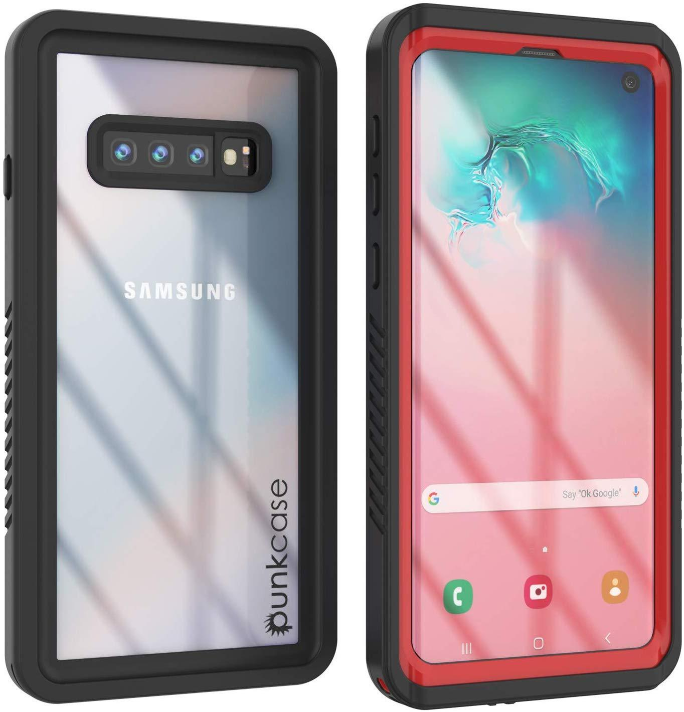 Galaxy S10+ Plus Water/Shock/Snowproof Slim Screen Protector Case [Red]