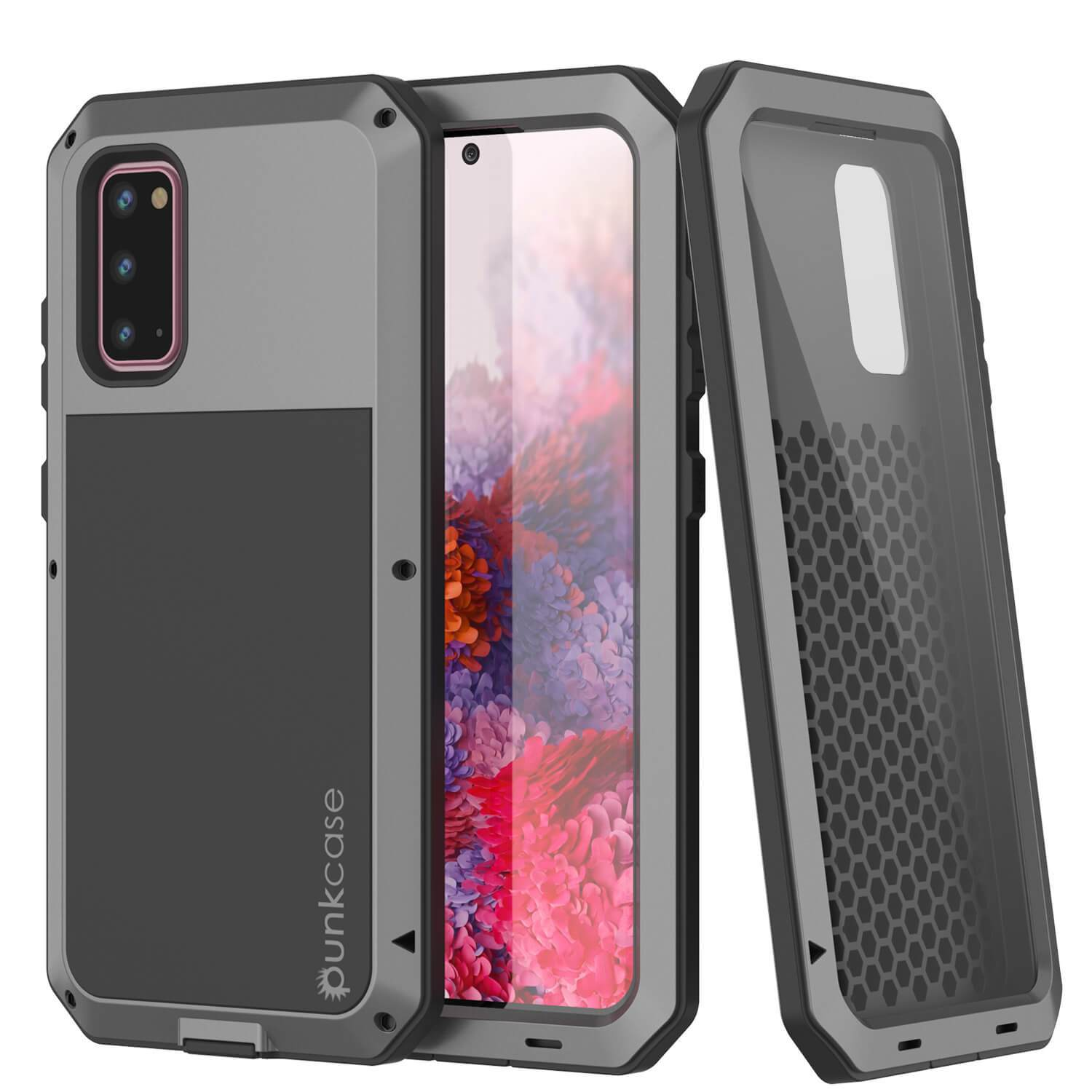 Galaxy s20 Metal Case, Heavy Duty Military Grade Rugged Armor Cover [Silver]