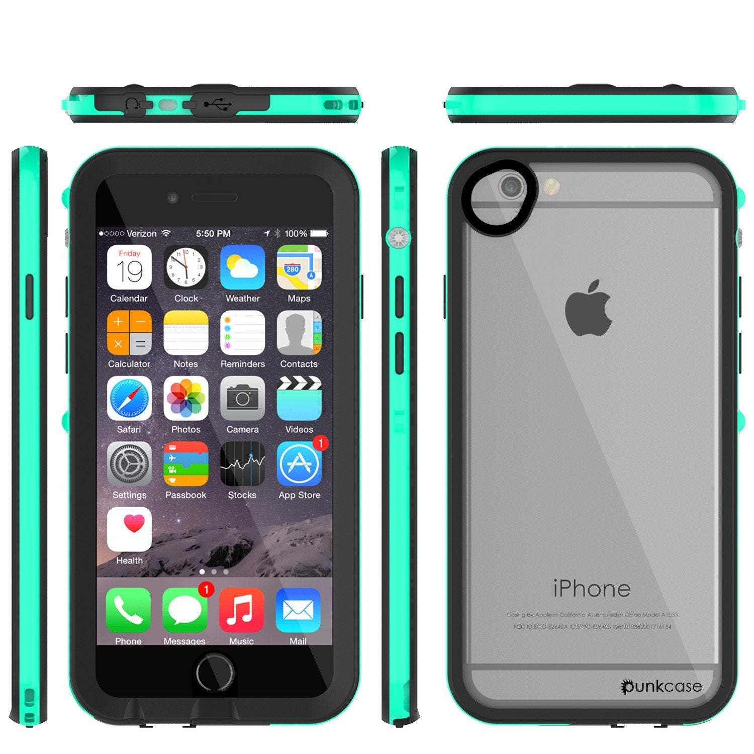 Apple iPhone 8 Waterproof Case, PUNKcase CRYSTAL 2.0 Teal W/ Attached Screen Protector  | Warranty