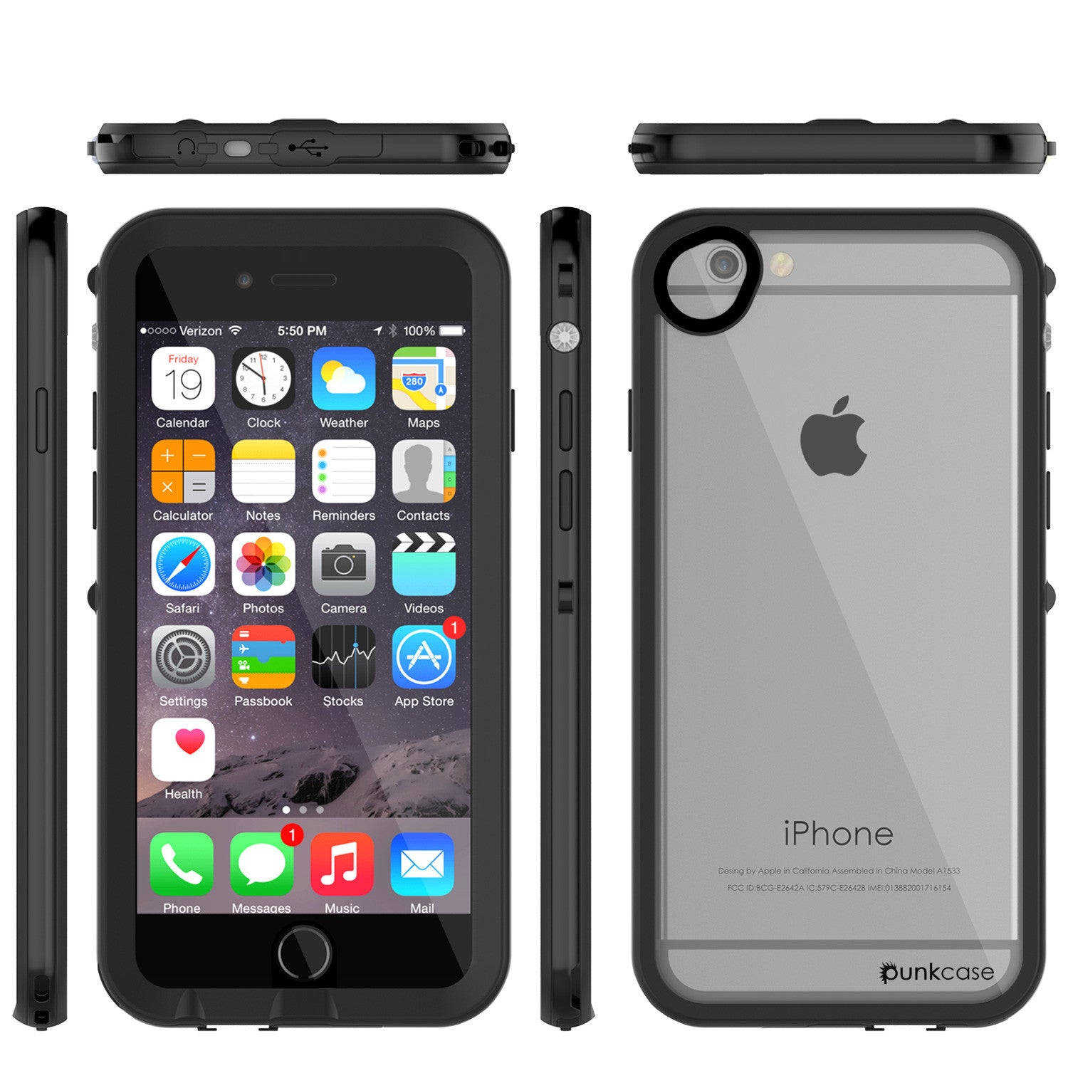 Apple iPhone 7/6s/6 Waterproof Case, PUNKcase CRYSTAL 2.0 Black W/ Attached Screen Protector  | Warranty