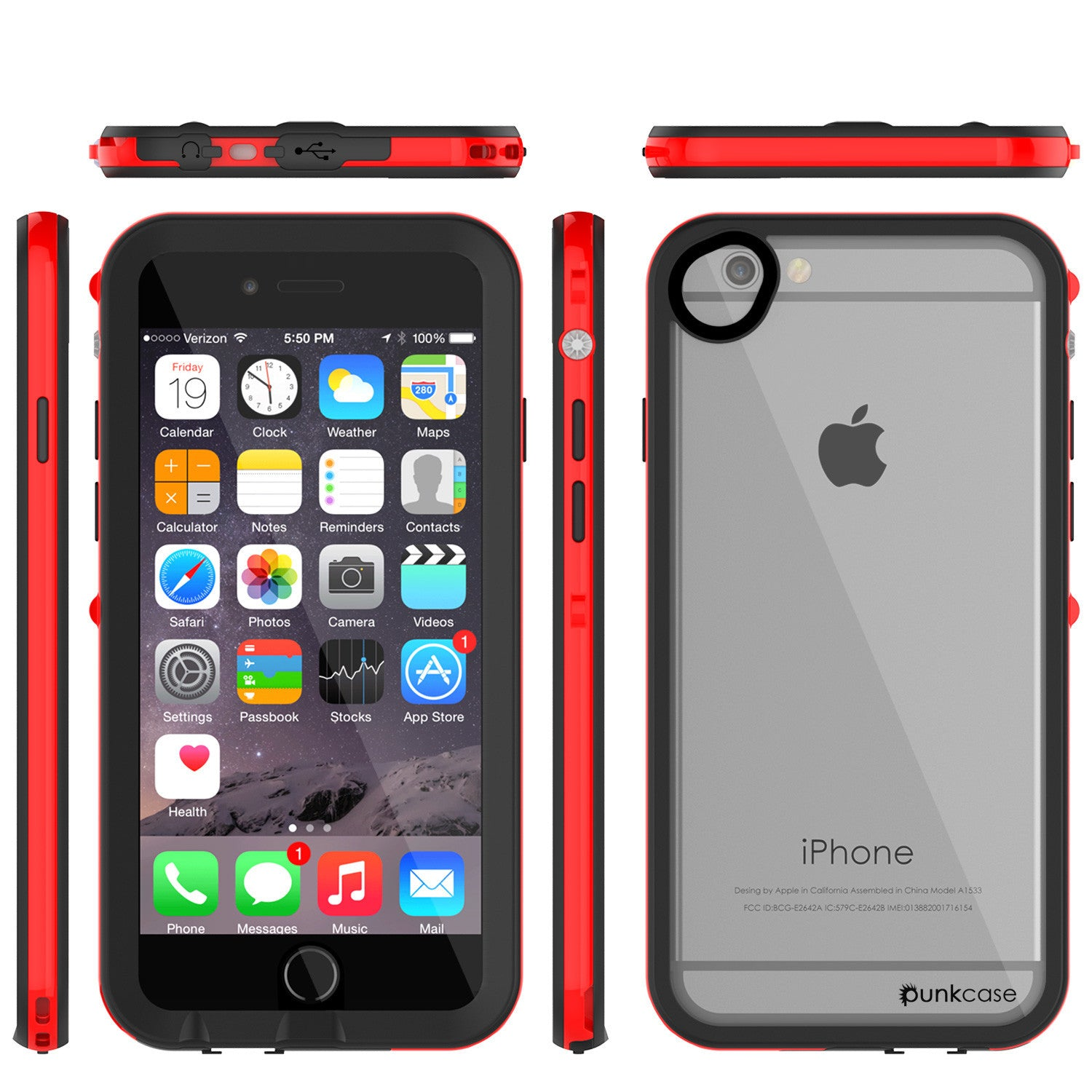 Apple iPhone 7/6s/6 Waterproof Case, PUNKcase CRYSTAL 2.0 Red W/ Attached Screen Protector  | Warranty