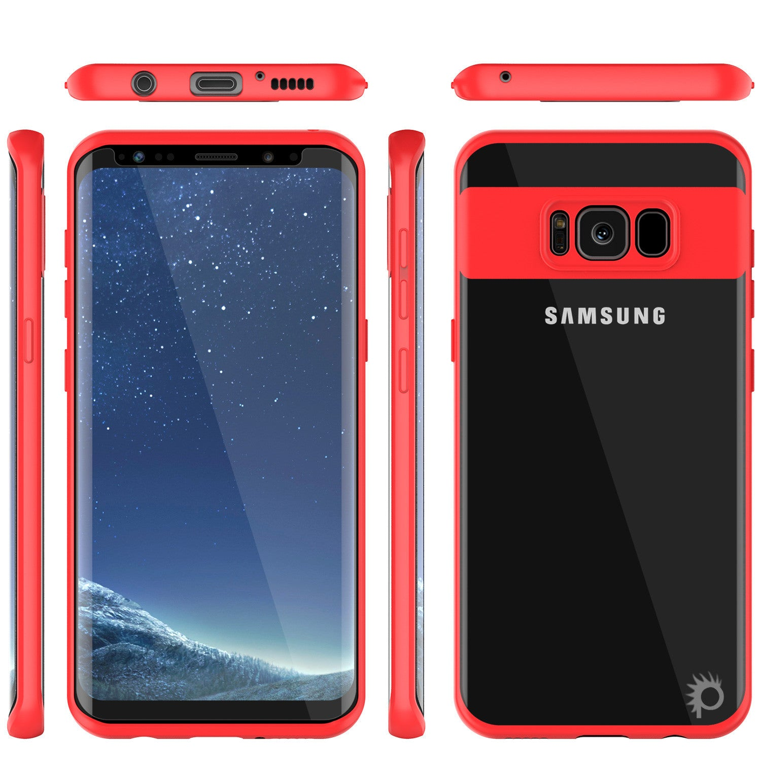 Galaxy S8 Plus Case, Punkcase [MASK Series] [RED] Full Body Hybrid Dual Layer TPU Cover W/ Protective PUNKSHIELD Screen Protector