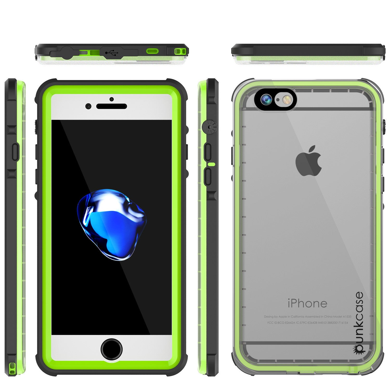 Apple iPhone 7 Waterproof Case, PUNKcase CRYSTAL Light Green  W/ Attached Screen Protector  | Warranty