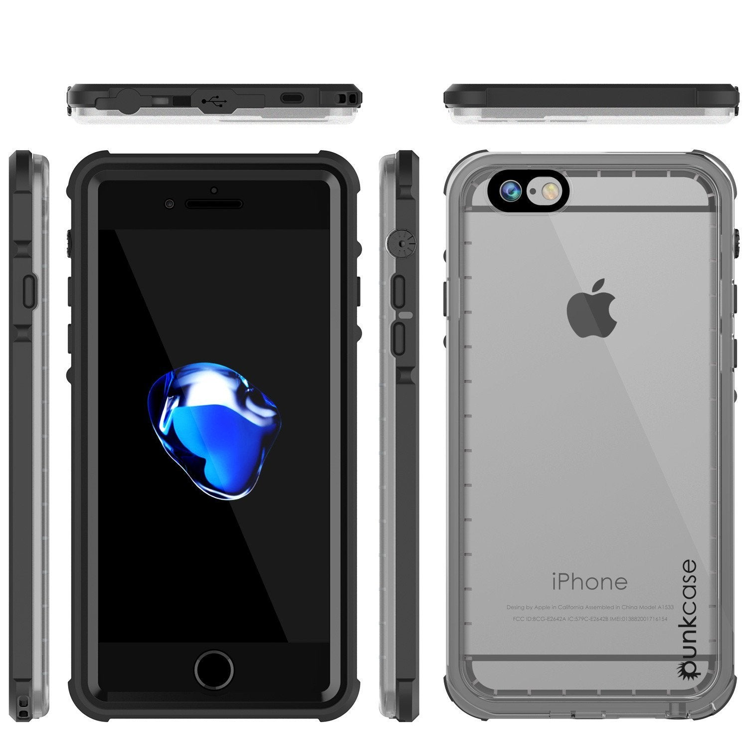 Apple iPhone 8 Waterproof Case, PUNKcase CRYSTAL Black W/ Attached Screen Protector  | Warranty