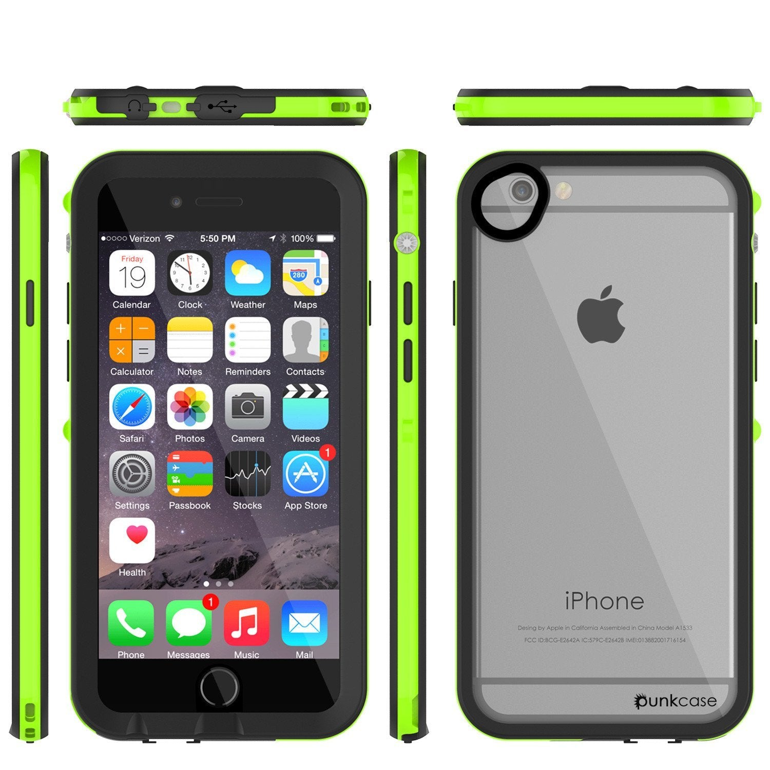 Apple iPhone 8 Waterproof Case, PUNKcase CRYSTAL 2.0 Light Green  W/ Attached Screen Protector  | Warranty