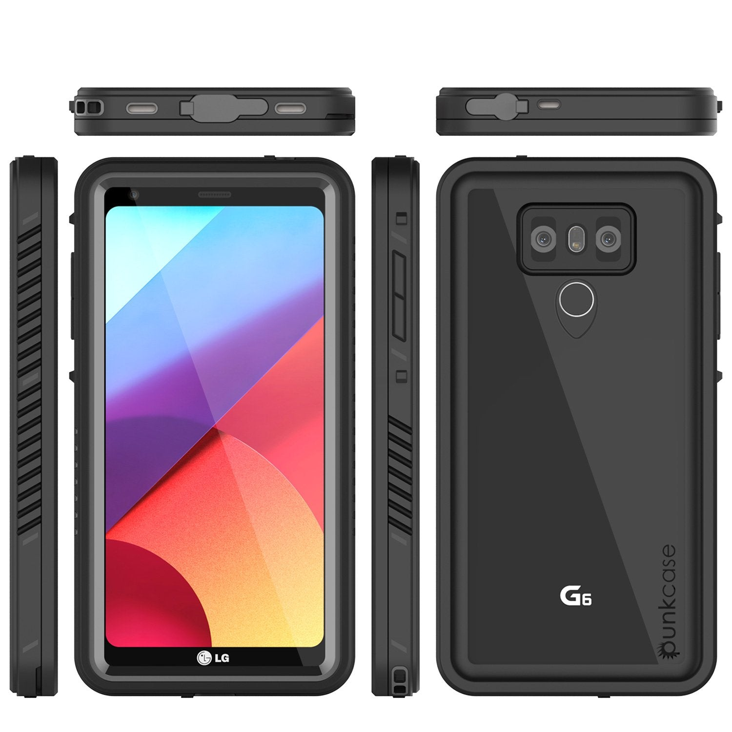 LG G6 Waterproof Case, Punkcase [Extreme Series] [Slim Fit] [IP68 Certified] Built In Screen Protector [BLACK]