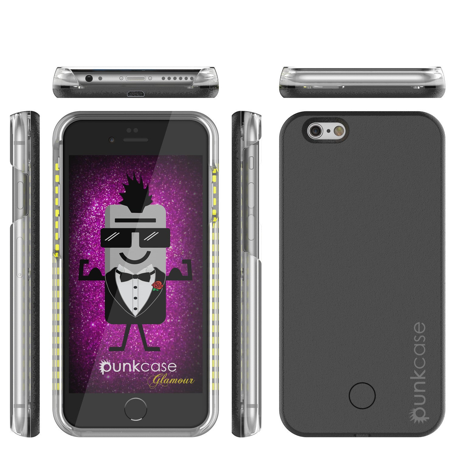 iPhone 6/6S Punkcase LED Light Case Light Illuminated Case, Black for Apple W/  Battery Power Bank